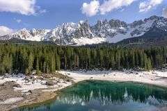 Scenic Lake Carezza ital. Lago di Carezza - the Fairytale Lake of the Dolomites, Italy royalty free stock photo