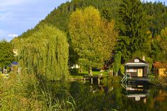 Scenic Lake Cottage in Austria Stock Photos