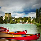 Scenic Lake Louise, Banff National Park, Canada. Scenic view of Lake Louise with hotel and boats Stock Photo