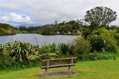 Scenic Lake Mangamahoe and its lush bank in north island Stock Photography
