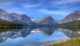 Scenic lake and mountains. Scenic view of Saint Mary Lake with snow capped mountains in background Stock Photography