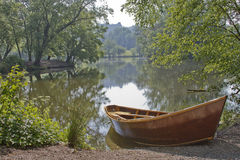 Scenic Lake With Rowboat Royalty Free Stock Image