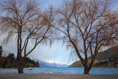 Scenic of lake wakatipu important traveling destination in queen Royalty Free Stock Photo
