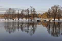 Scenic lake in winter Stock Photos