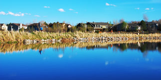 Scenic lakeside in suburbia Stock Photos
