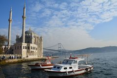 Beautiful Mosque in Ortaköy in Istanbul Turkey stock photography