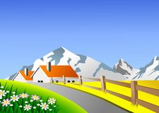 Scenic landscape. An illustration of scenic landscape with farm and mountains Stock Photo