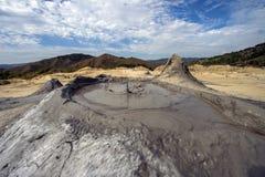 Scenic landscape of active mud volcano in Buzau, Romania. Stock Photo