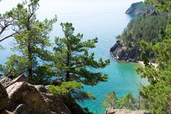 A scenic landscape at the Baikal lake. In Siberia, Russia Royalty Free Stock Images