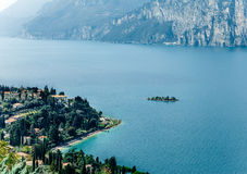 Scenic landscape of beautiful Garda lake and mountains, Italy Royalty Free Stock Photos