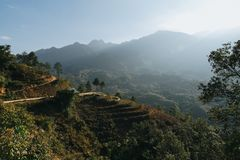 Scenic landscape with beautiful mountains and green vegetation in Sa. Pa, Vietnam stock images