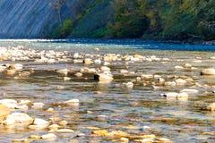 Scenic landscape with beautiful river. Autumn in mounta. Scenic landscape with beautiful mountain river. Autumn in mountain forest. Sunny day stock photo