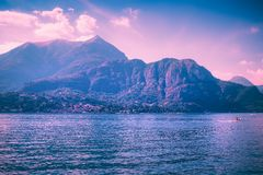 Scenic landscape with Como lake at sunset, Italy. Scenic landscape with Como lake at sunset, Lombardy, Italy royalty free stock photo