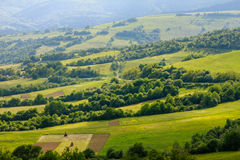 Scenic landscape of the countryside near alpine mountains. Royalty Free Stock Photos