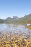 Scenic landscape Cradle Mountains Tasmania. Beautiful landscape of Cradle Mountains National Park in Tasmania, Australia, with clear water of Dove Lake in stock photography