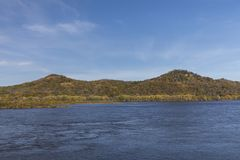 Mississippi River In Autumn. A scenic landscape featuring the Mississippi River during autumn royalty free stock photos