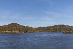 Mississippi River In Autumn. A scenic landscape featuring the Mississippi River during autumn royalty free stock photography