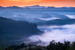 Scenic landscape in foggy valley at dawn Stock Photography
