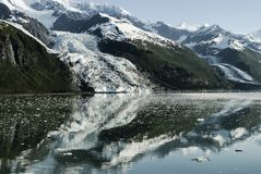 Scenic landscape with glaciers flowing into the water at College Royalty Free Stock Photography