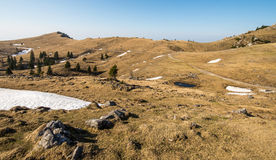 Scenic landscape of high alpine pasture Velika Planina near Kamnik, Slovenia during spring time Stock Photography