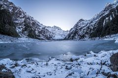 Scenic landscape of ice and glacier in Lake Marian, New Zealand royalty free stock images