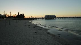 Busselton jetty sunset. Scenic landscape of iconic Busselton Jetty in Busselton Beach, Western Australia at sunset light. Busselton Jetty is the longest wooden stock video