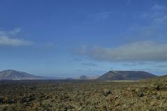 Scenic landscape on the island of lanzarote in the atlantic ocean stock images