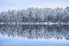 Scenic landscape with lake reflection and snow at winter evening Stock Images