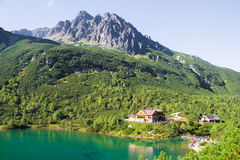 Scenic landscape with lake view of a hut in the High Tatras Royalty Free Stock Image