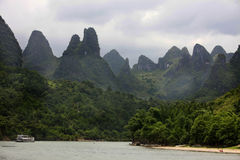 Scenic landscape and Li River near Guilin Royalty Free Stock Image