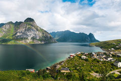 Scenic landscape on Lofoten islands with mountains near water royalty free stock photo