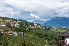 Landscape with a little village in South Tyrol, Renon-Ritten region, Italy royalty free stock image