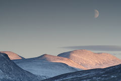Scenic landscape of the moon in the background. In Norway Stock Images