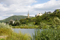 A scenic landscape with the Mosel river near Kobern-Gondorf. Kobern-Gondorf is a municipality in Rhineland-Palatinate on the Mosel river in Germany stock image