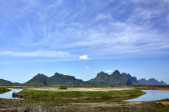 Scenic landscape of mountain and lake Stock Images