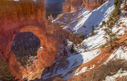 Natural Arch Bryce Canyon National Park Utah in Winter. The scenic landscape of natural arch in Bryce Canyon National Park Utah in winter Stock Photos