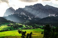 Scenic landscape view Dolomites Italy royalty free stock photo