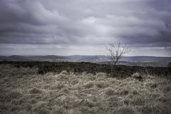 Scenic landscape of Peak District National Park,Derbyshire,Uk. Dramatic,cloudy sky with spells of sunlight in early spring.Landscape Uk,extreme weather Royalty Free Stock Images