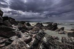 Scenic landscape of Pembrokeshire coast, Uk. Beautiful scenery of dramatic Pembrokeshire coastline,South Wales, Uk in summer.Scenic landscape of british coast stock photos