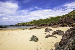 Scenic landscape of Pembrokeshire coast, Uk.Sandy beach with few. Idyllic scenery of beautiful Pembrokeshire coastline,South Wales, Uk in summer.Scenic landscape royalty free stock photos