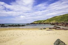 Scenic landscape of Pembrokeshire coast, Uk.Sandy beach with few. Idyllic scenery of beautiful Pembrokeshire coastline,South Wales, Uk in summer.Scenic landscape stock photos