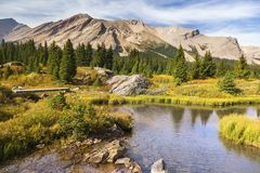 Scenic Landscape Pipestone Mountain Red Deer Lakes Banff National Park Canadian Rockies. Scenic Landscape View of Pipestone Mountain Hiking Meadows near Red Deer stock images