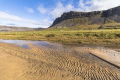 Scenic landscape of Raudisandur beach, west fjords, Iceland. Scenic landscape of Raudisandur beach, west fjords Iceland royalty free stock photo