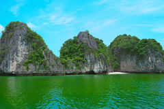Scenic landscape, rock island, Halong Bay, Vietnam. Rock islands in Halong Bay, Vietnam, Southeast Asia. UNESCO World Heritage Site. Scenic landscape with Stock Images