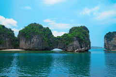 Scenic landscape, rock island, Halong Bay, Vietnam. Rock islands in Halong Bay, Vietnam, Southeast Asia. UNESCO World Heritage Site. Scenic landscape with Royalty Free Stock Images