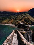 Scenic landscape of San Juan de Gaztelugatxe, Basque Country, Spain royalty free stock images