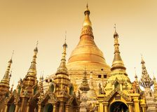 Scenic landscape of Shwedagon Pagoda in Yangon, Myanmar at sunset stock photo