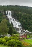 Scenic landscape in Sogn og Fjordane, Norway. Scenic landscape with waterfall in Sogn og Fjordane, Western Norway Royalty Free Stock Image