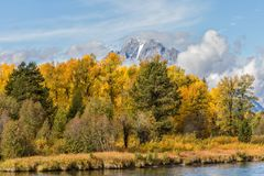 Autumn Landscape in the Tetons. A scenic landscape of the tetons in autumn Stock Image
