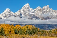 Scenic Autumn Landscape in the Tetons. A scenic landscape of the tetons in Wyoming in autumn Royalty Free Stock Photography